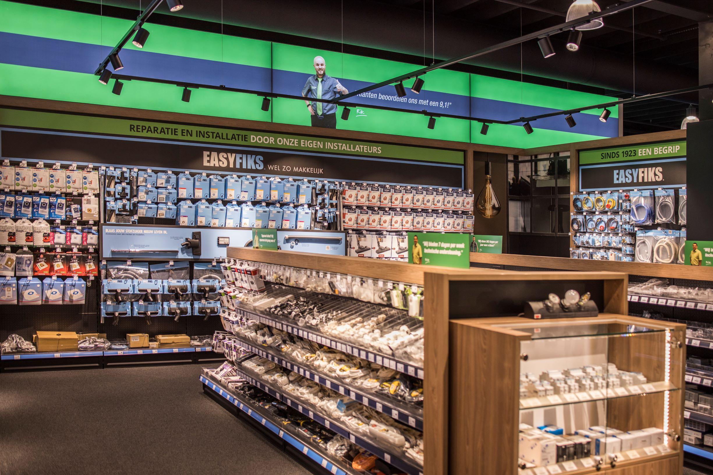 Easyfiks productlijn in de winkelschappen